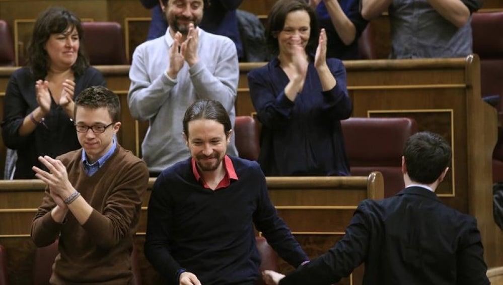 El líder de Podemos, Pablo Iglesias, en el Congreso