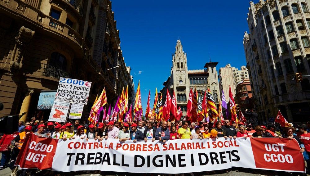 Manifestación por los derechos laborales en Barcelona