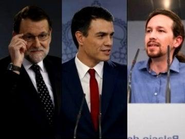 Los líderes del PP, PSOE, Podemos y Ciudadanos