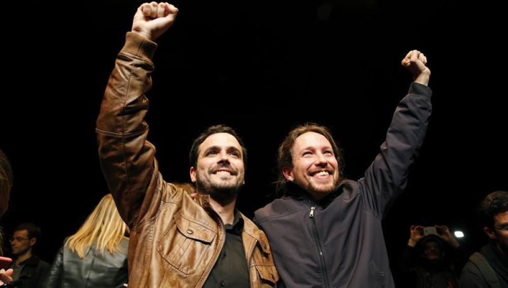 Pablo Iglesias y Alberto Garzón, tras el preacuerdo electoral.