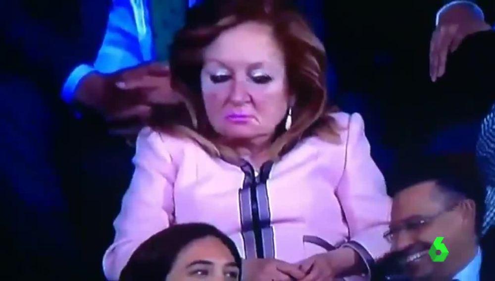 La mujer de Villar en el partido de final de Copa