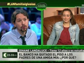 """Frame 47.282628 de:  Oihane Landaluce, 12 años, a Pablo Iglesias: """"¿Por qué le quita el banco el piso a los padres de mi amiga?"""""""