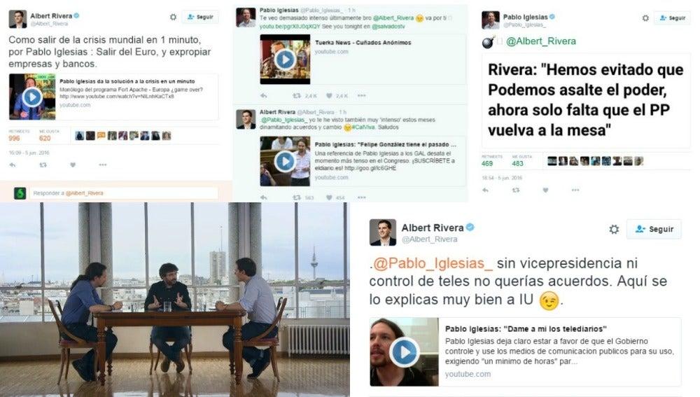 Extracto del tira y afloja en Twitter de Iglesias y Rivera previo a Salvados