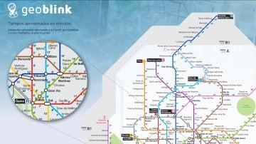Extracto del plano de Metro por minutos creado por 'Geoblink'