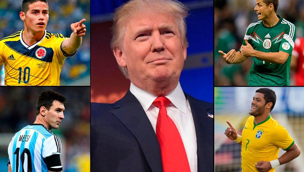 Donald Trump, rodeado de jugadores de la Copa América