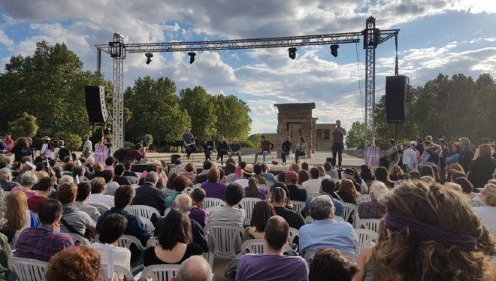Un momento del acto de Podemos en el Templo de Debod