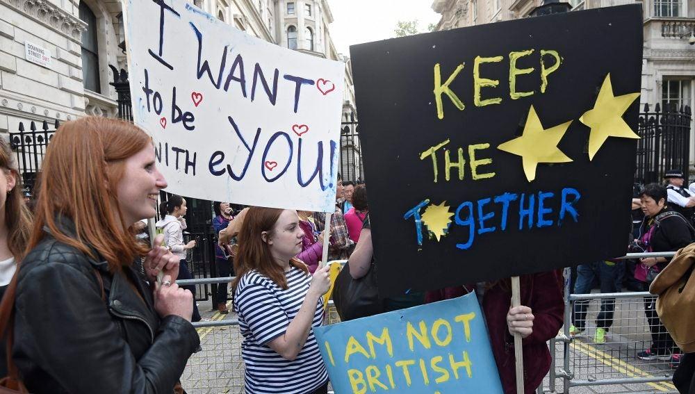 Varios manifestantes que apoyan la permanencia del Reino Unido en la Unión Europea