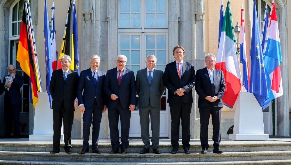 Los ministros de Exteriores de los seis países fundadores de la Unión Europea, en Berlín