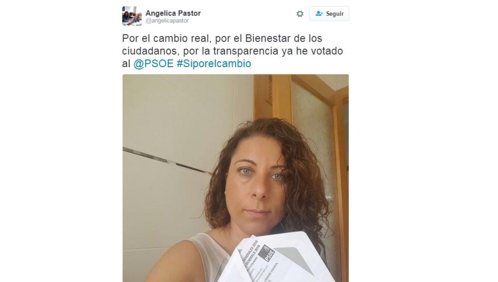 El tuit de Angélica Pastor