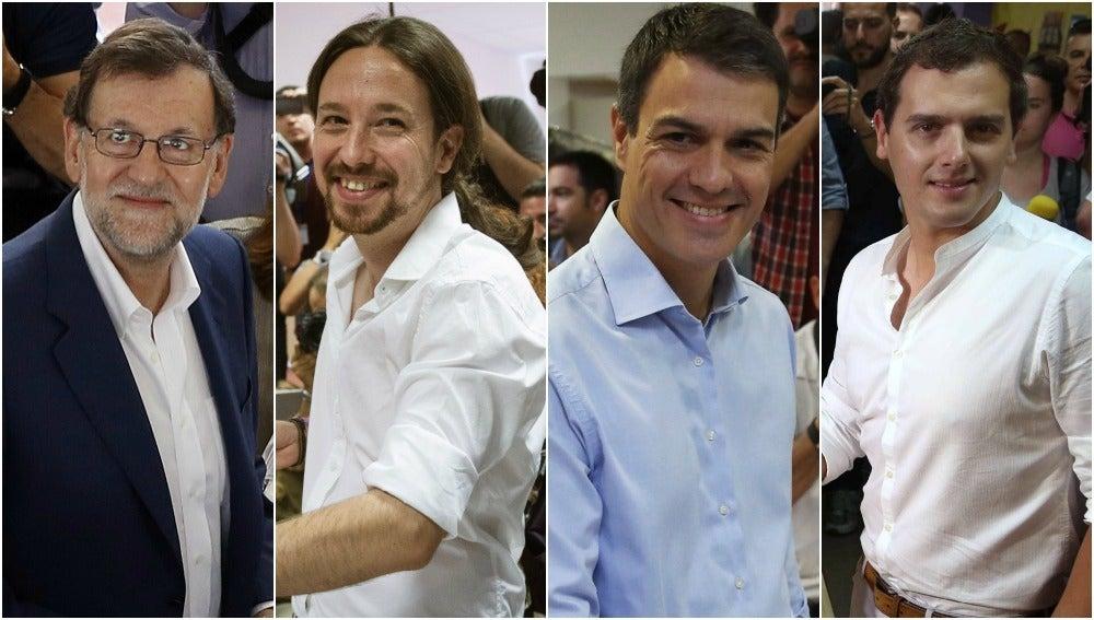 Los candidatos de los cuatro grandes partidos ejercen su derecho al voto