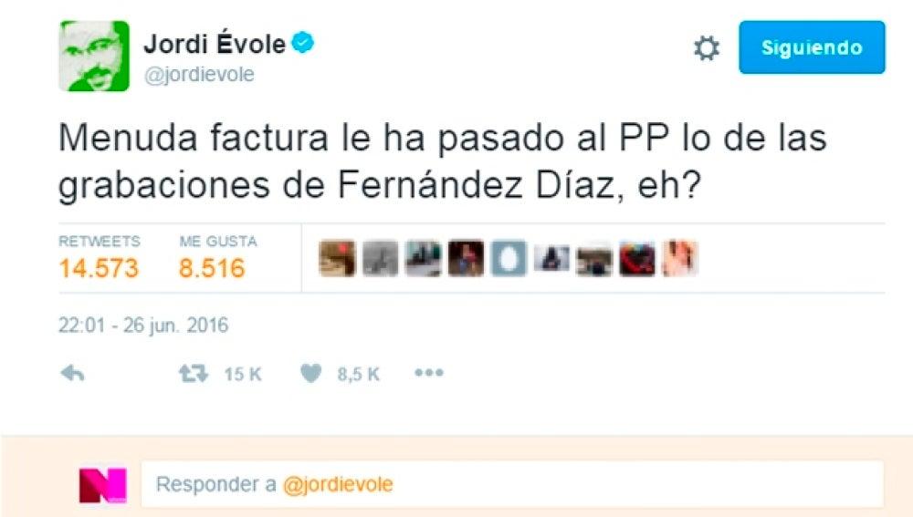 Tuit de Jordi Évole tras las elecciones del 26J