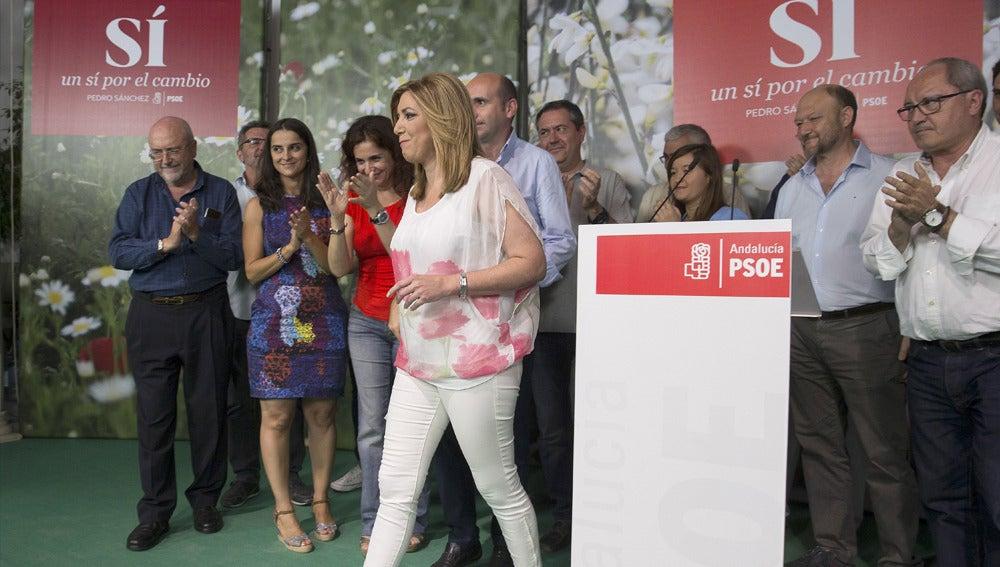 Susana Díaz tras hablar con los medios