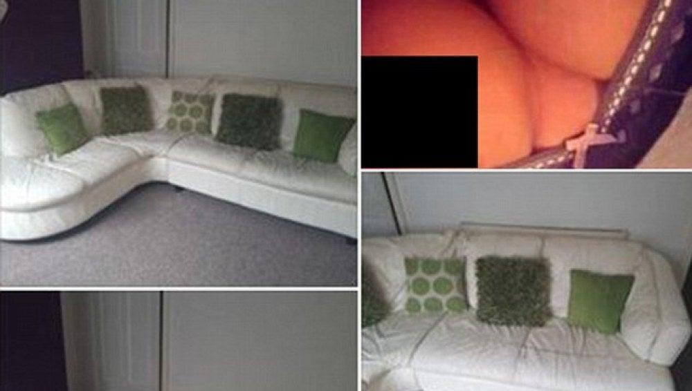 Imagen de los pechos de la joven en el anuncio de venta del sofá.