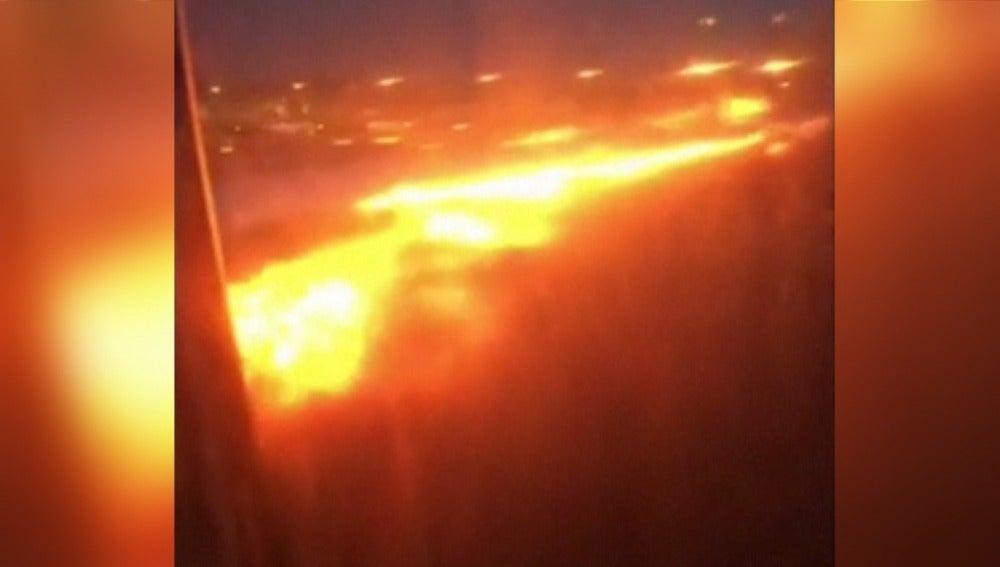 Incendio avión