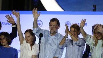 Mariano Rajoy, en el balcón de Génova