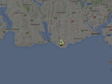 Imagen de un radar que muestra el tráfico aéreo en el aeropuerto de Ataruk, en Estambul
