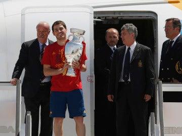 Vicente del Bosque, Iker Casillas y Ángel María Villar