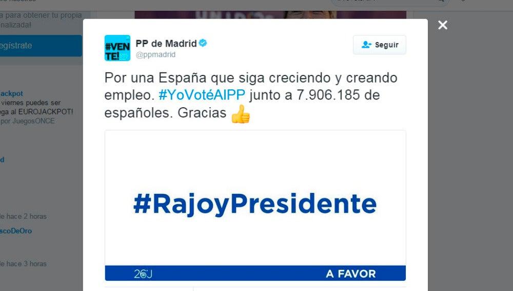 El tuit del PP de Madrid que ha revolucionado las redes sociales