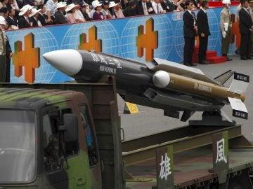 Foto tomada el 10 de octubre de 2007 de un misil Hsiung Feng III taiwanés