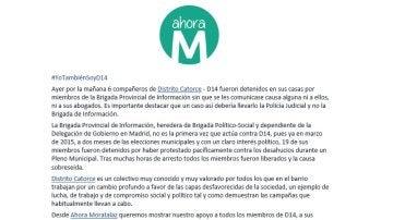 Comunicado de Ahora Madrid en Moratalaz