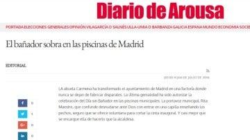Pantallazo del editorial del 'Diario de Arousa' sobre el Día sin Bañador