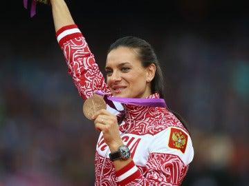 Yelena Isinbáyeva durante los JJOO de Londres 2012