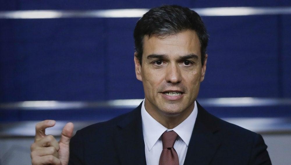 Pedro Sánchez durante la rueda de prensa posterior a la reunión con Rajoy