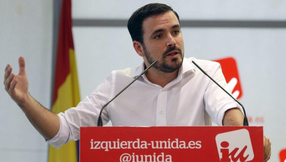El líder de IU, Alberto Garzón, en una intervención de la Asamblea Político y Social de la formación