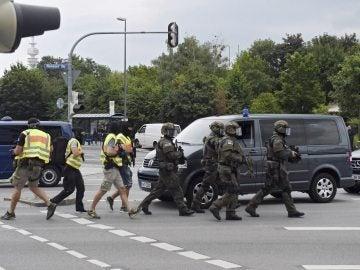 Imagen de la Policía alemana tras el tiroteo en Múnich