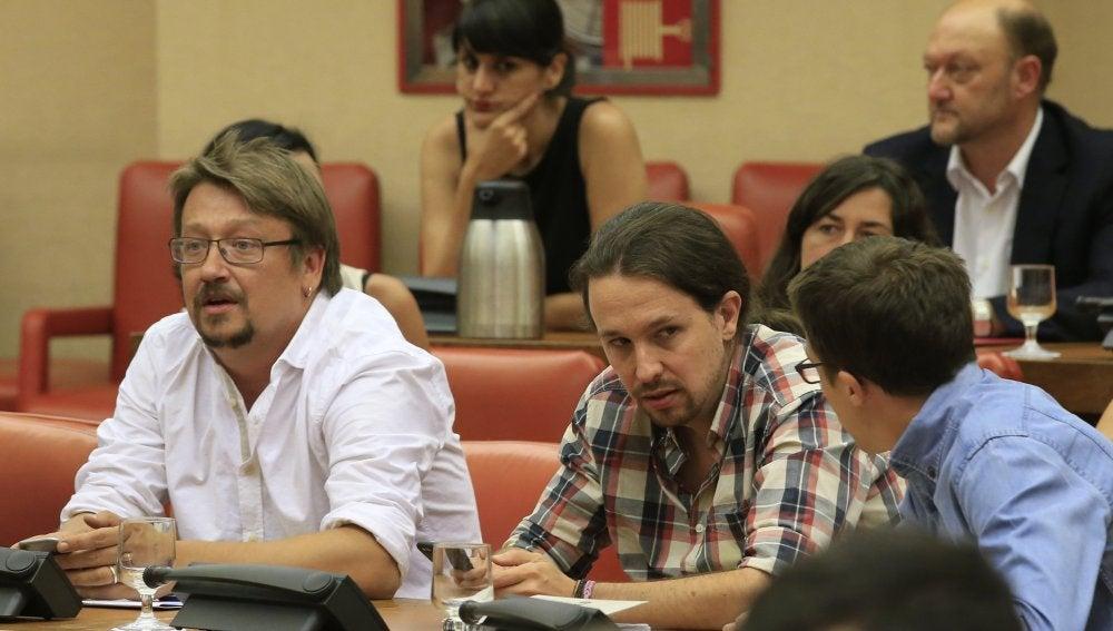 Xavier Domènech, Pablo Iglesias e Íñigo Errejón