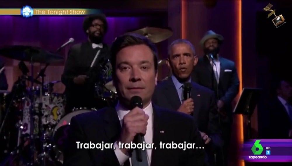 Frame 86.312895 de: La actuación de Barack Obama en 'The Tonight Show' se convierte en el último finalista a los premios Jimmy Fallon