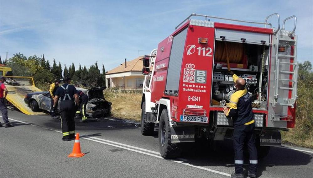 Fotografía facilitada por el Gobierno de Navarra del accidente