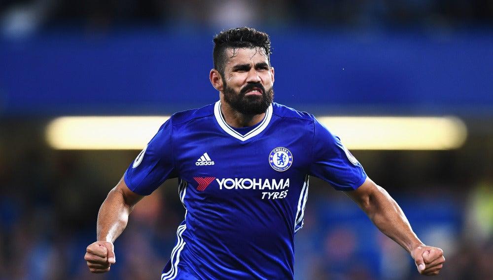 Diego Costa celebra su gol ante el West Ham