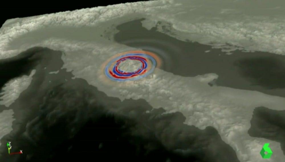 Imagen en 3D del terremoto en Italia