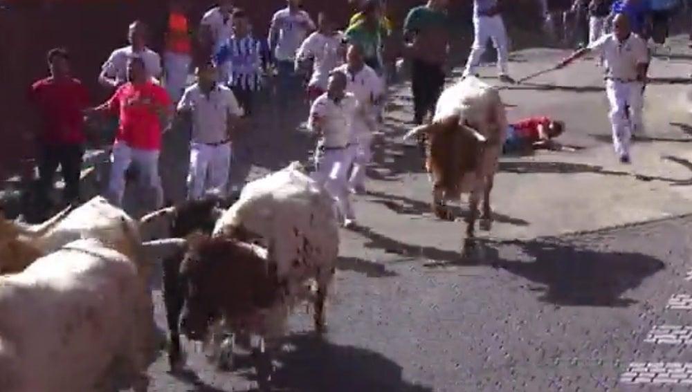 Un corredor cae al suelo durante el segundo encierro de San Sebastián de los Reyes
