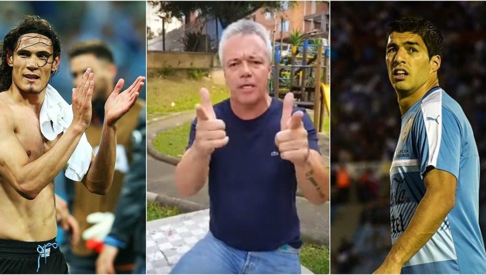 Cavani y Suárez, junto al exsicario de Pablo Escobar