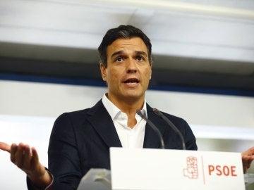 Pedro Sánchez durante la rueda de prensa