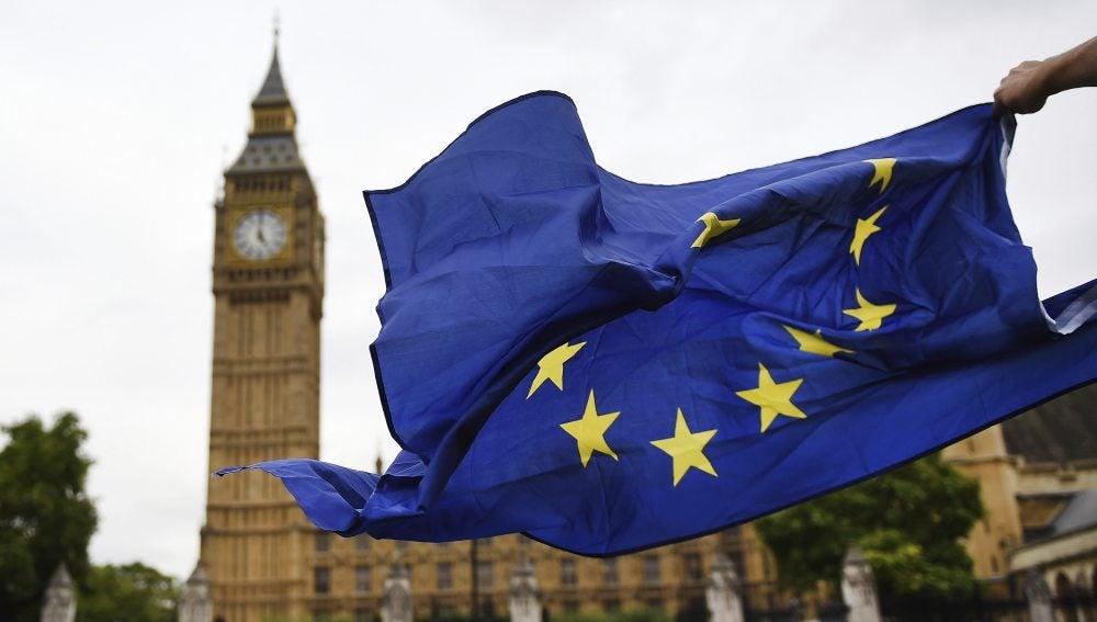 Una bandera europea en Londres