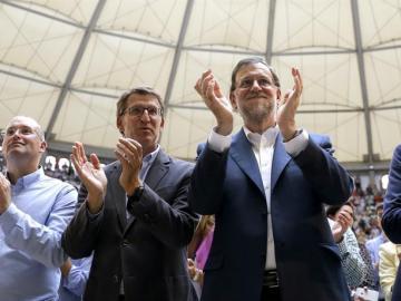 Mariano Rajoy junto a Alberto Núñez Feijóo en Galicia