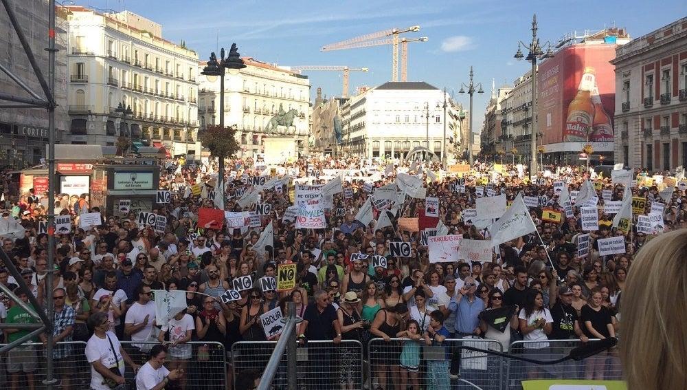La Puerta del Sol durante la marcha antitaurina