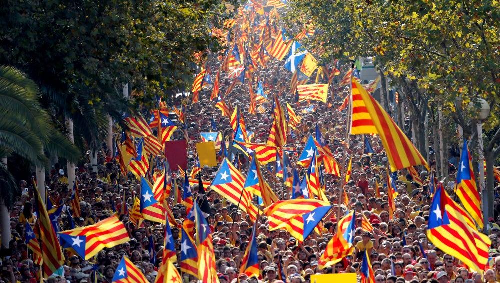 Manifestación independentista en la Diada de Cataluña