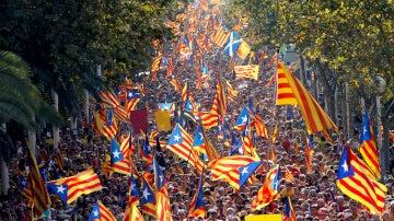 Manifestación independentista en la Diada de Cataluña.