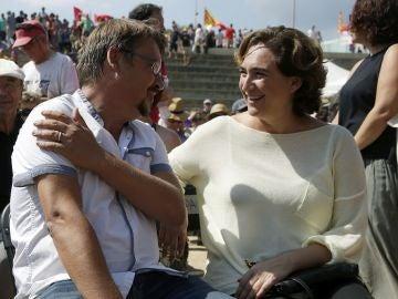 Ada Colau con Jaume Domènech en la Diada