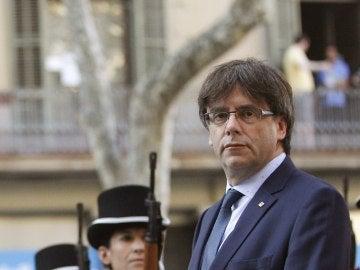 Carles Puigdemont durante los actos de la Diada