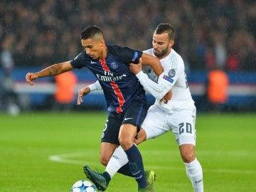 Jesé contra el PSG en su etapa en el Madrid.