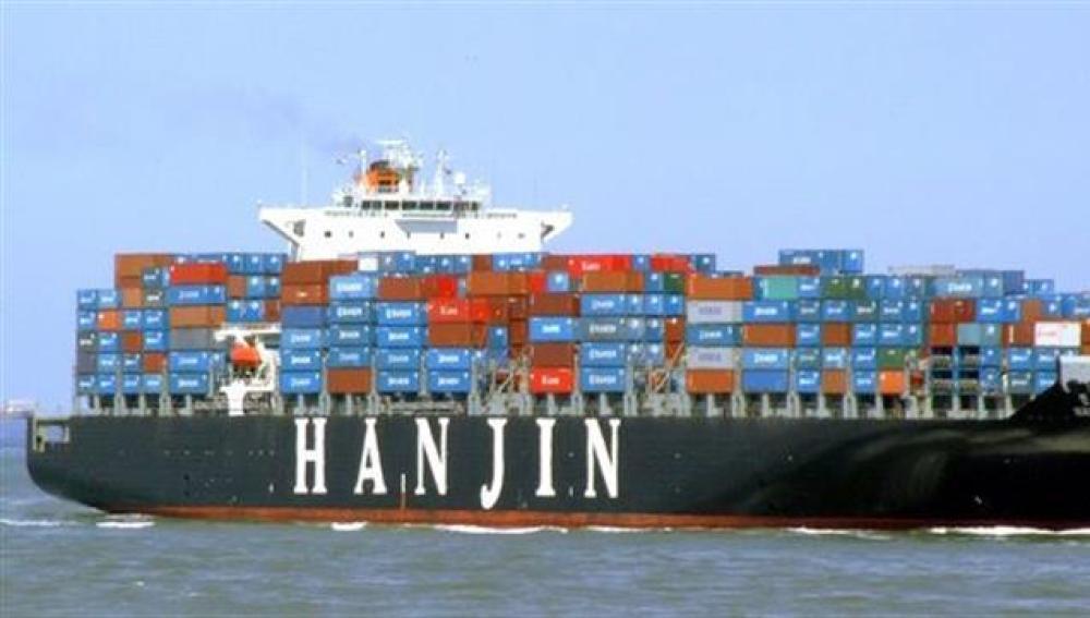 Fotografía que muestra al buque portacontenedor 'Hanjin Tianjin' de la empresa surcoreana Hanjin Shipping