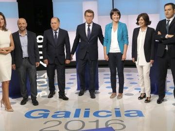 Los candidatos a presidir la Xunta antes del debate celebrado en Televisión de Galicia