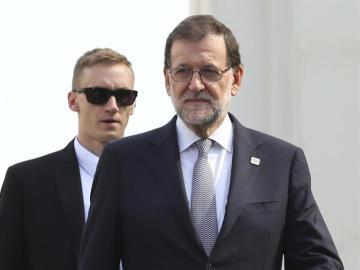 Mariano Rajoy tras la foto de familia de la cumbre informal de jefes de Estado y de Gobierno de la Unión Europea
