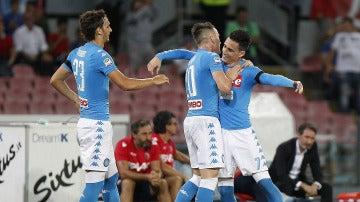 Callejón celebra el 1-0 frente al Bolonia