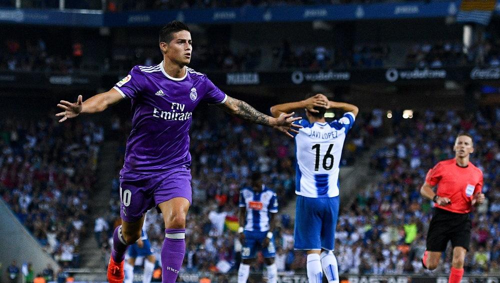 James abrió el marcador a favor del Real Madrid ante el Espanyol